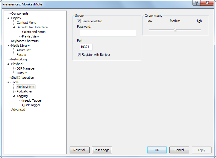 foobar2000 Plug-in configuration