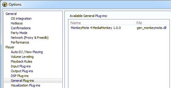 MediaMonkey Plug-in configuration